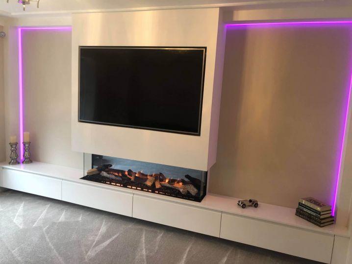 TV Recess With Illuminated Wall And Base Units